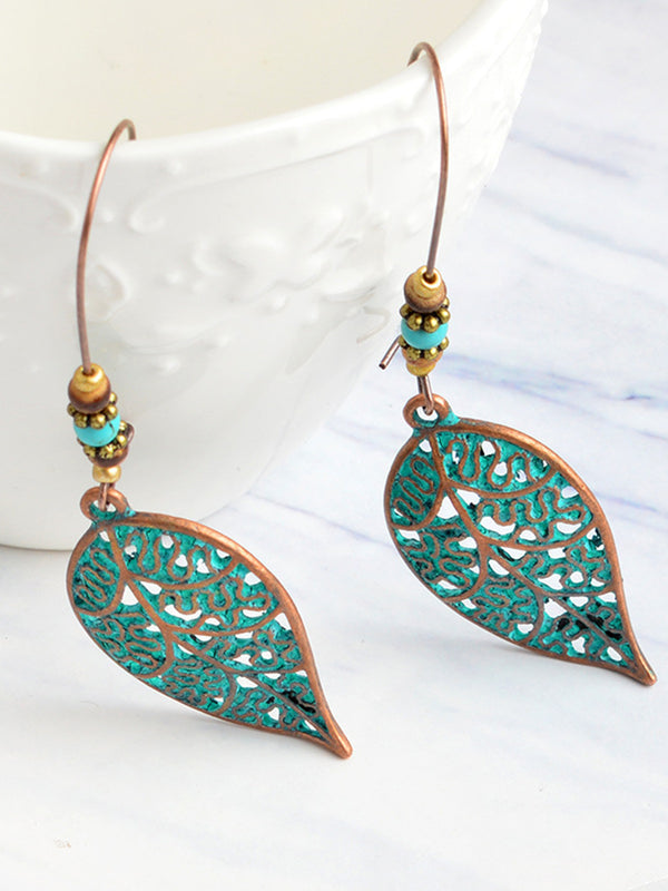 Womens Vintage Leaf Alloy Earrings