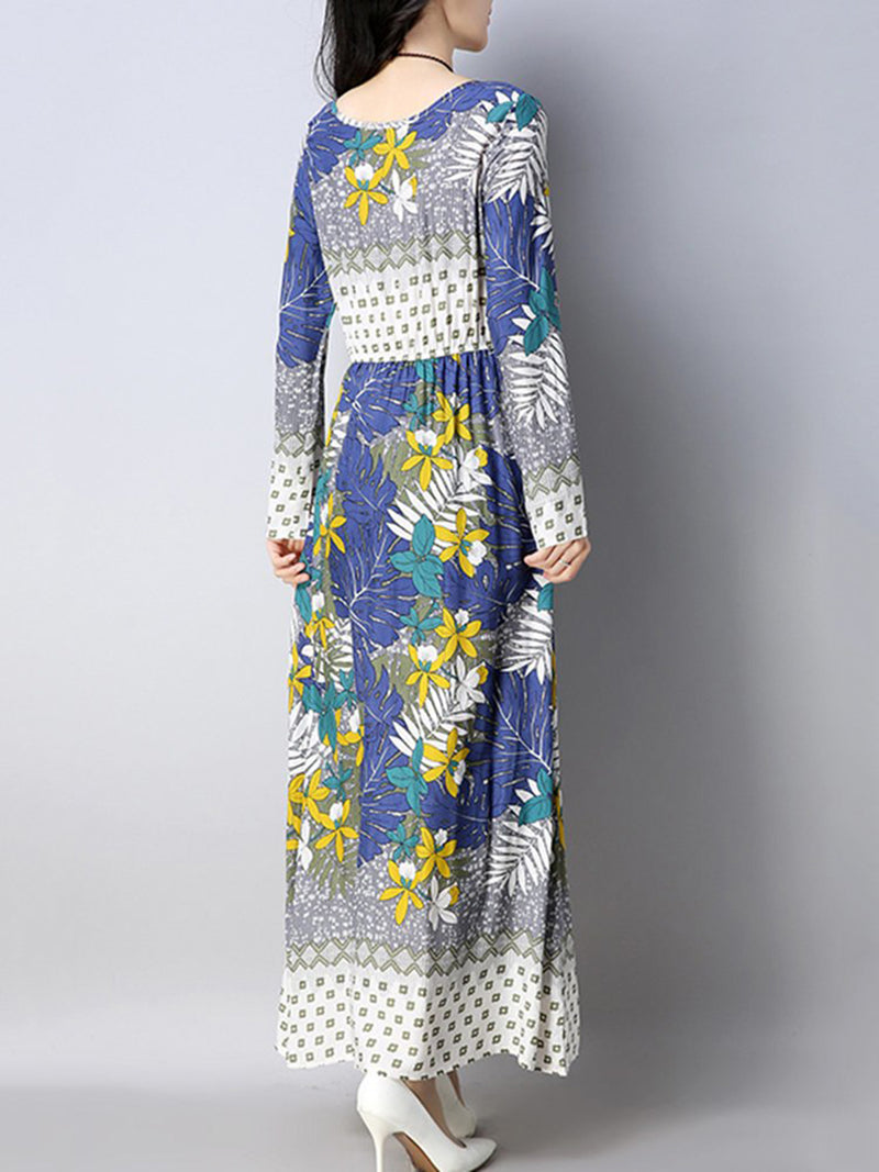 Floral Printed Long Sleeve Linen Maxi Dress