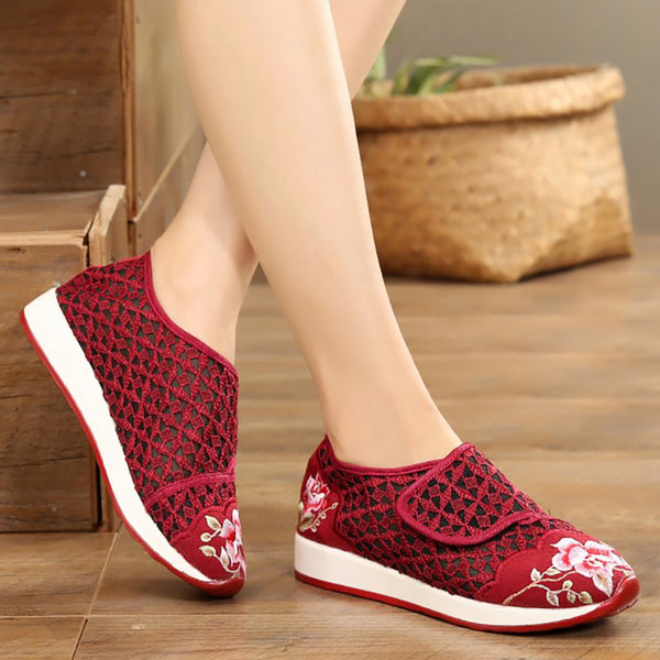 Women Mesh Fabric Casual Hollow Out Magic Tape Shoes