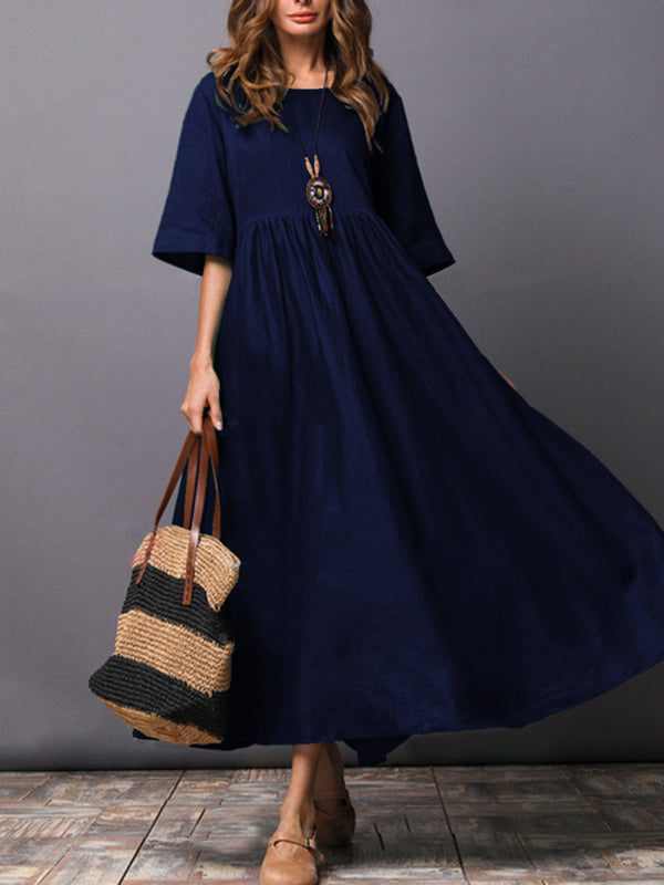 A-line Pockets Solid Linen Casual Midi Dress