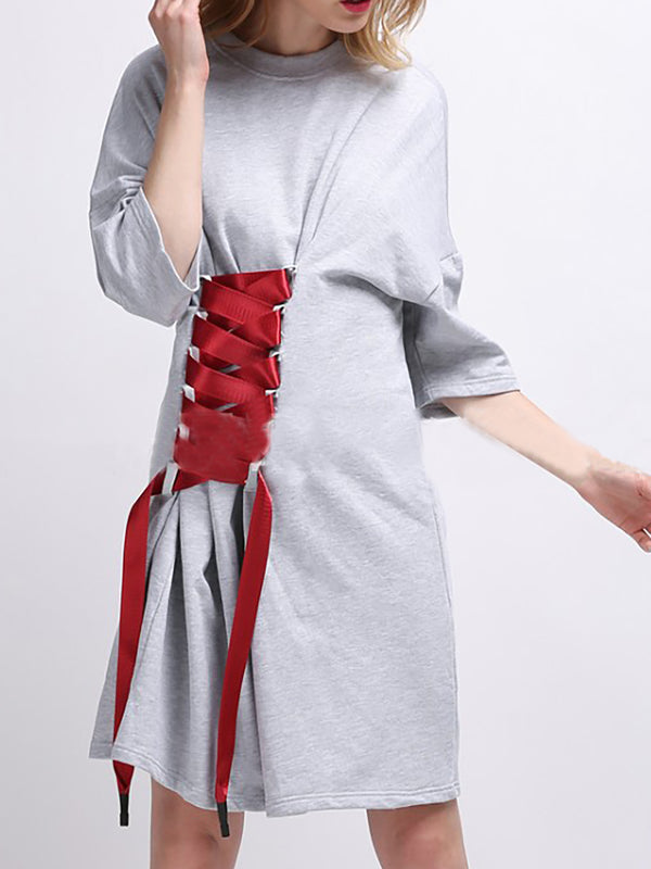 A-line Basic Crew Neck Casual Dress