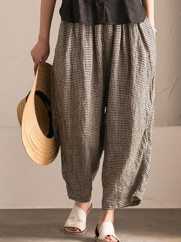 Black Pockets Shift Checkered/Plaid Casual Pants
