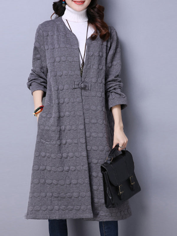 Buttoned Long Sleeve Embossed Solid Coat
