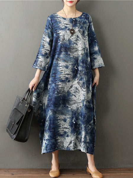 Abstract Shift 3/4 Sleeve Crew Neck Dress