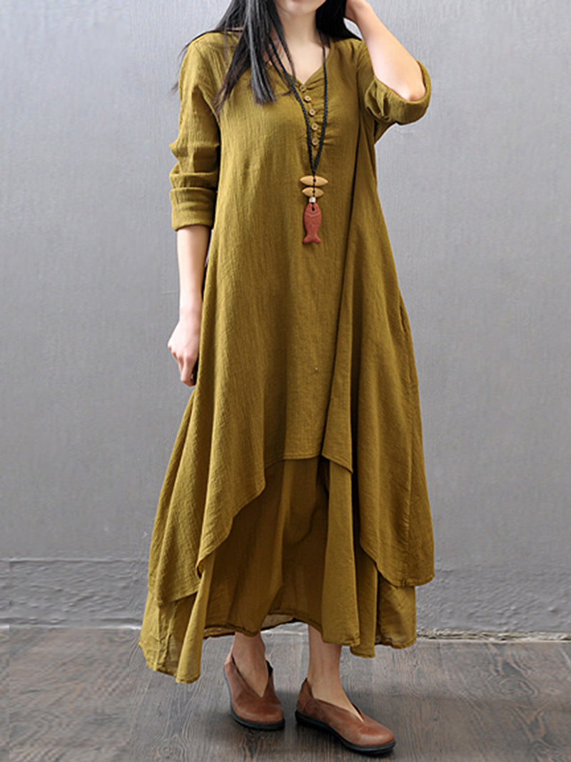 Tiered Long Sleeve Swing V-Neck Plus Size Casual Dress