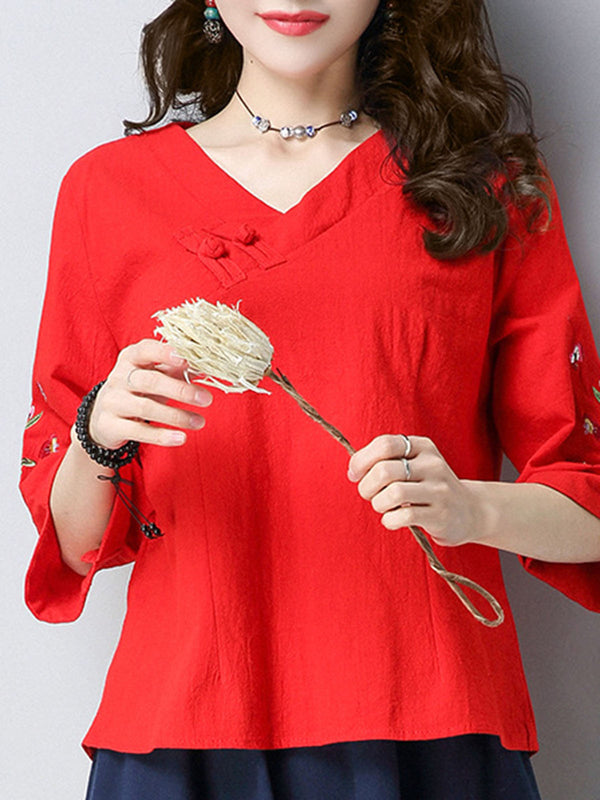 3/4 Sleeve Vintage Floral-embroidered T-Shirt