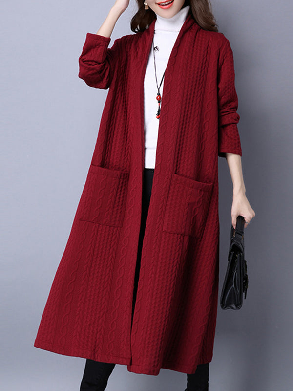 Embossed Pockets H-line Long Sleeve Casual Coat