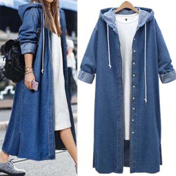 Casual Hoodie Denim Buttoned Long Coat