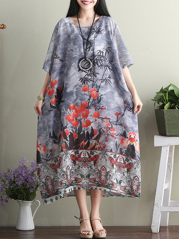 Casual Floral Crew Neck A-line Midi Dress