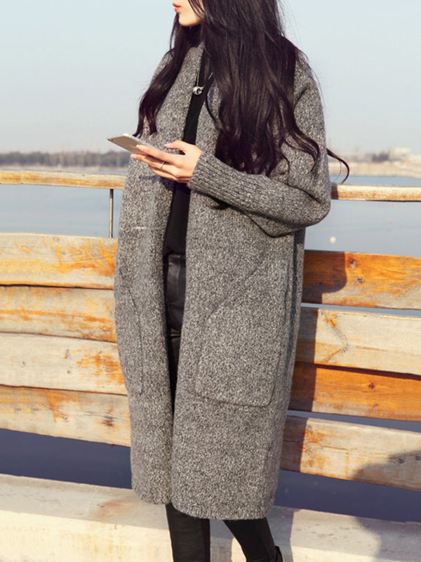 Solid Color Long Knitted Cardigan