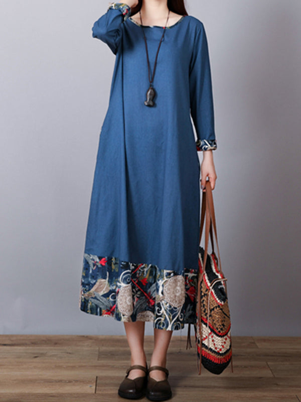 Boho Paneled Long Sleeve Maxi Dress