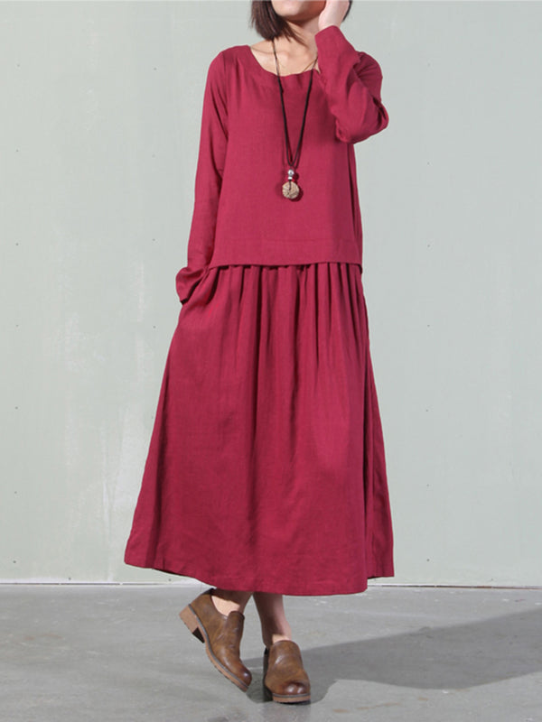 Button Long Sleeve Maxi Dress