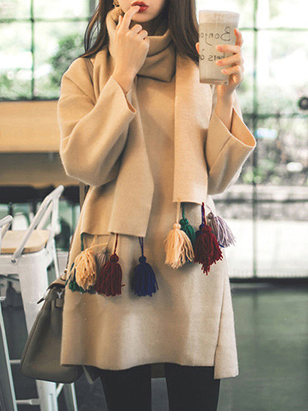 Two Pieces Set Solid Long Sleeve Dress with Tassel Scarf