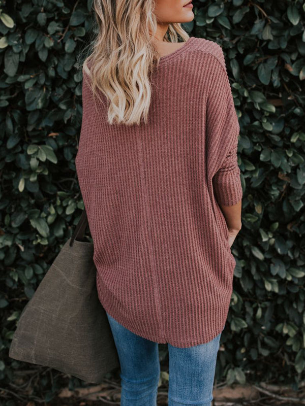 V-neck Button-up Long Sleeve Sweater