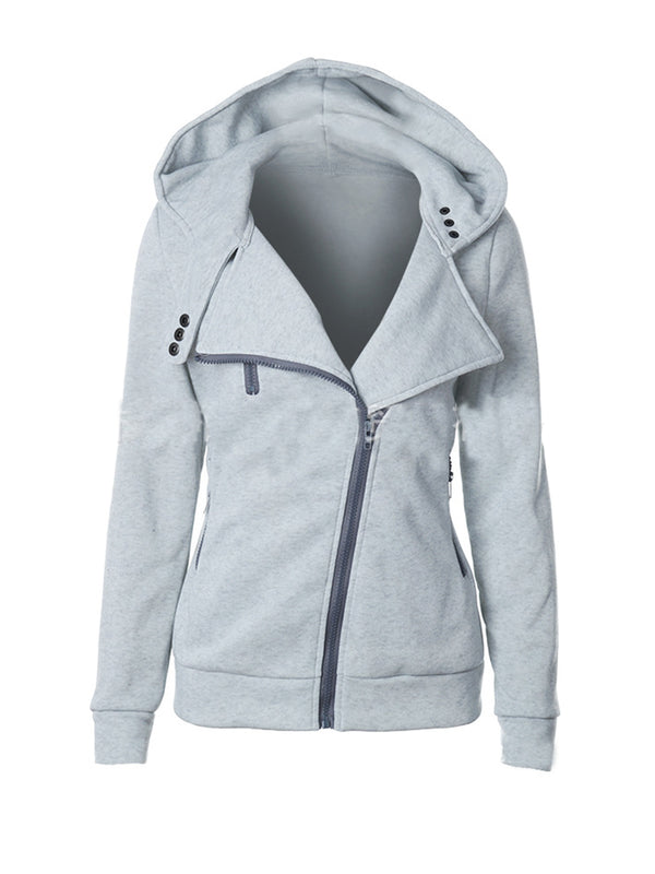 Solid Color Asymmetric Zipper Hooded Coat