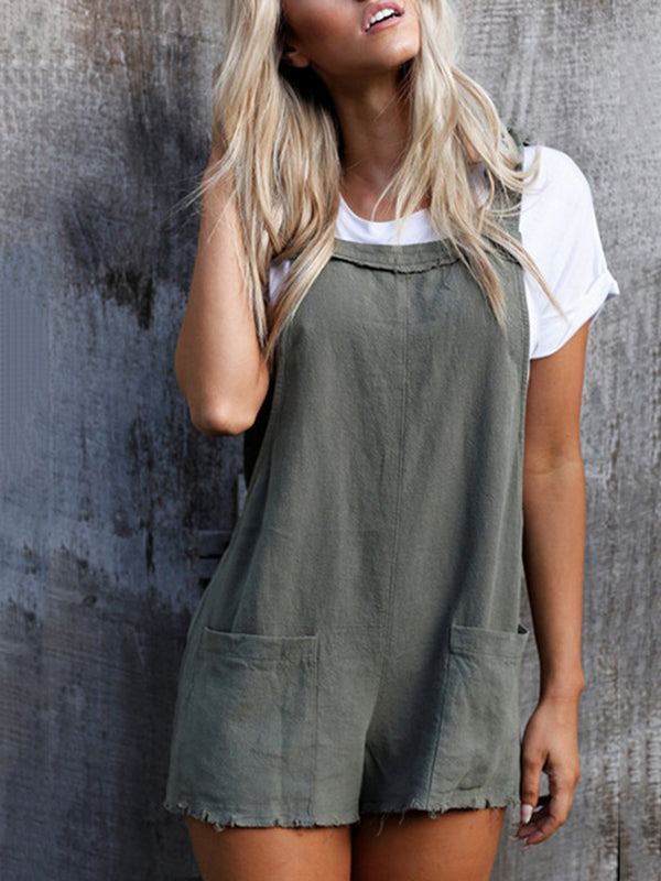 Pockets Bandage Short Jumpsuit