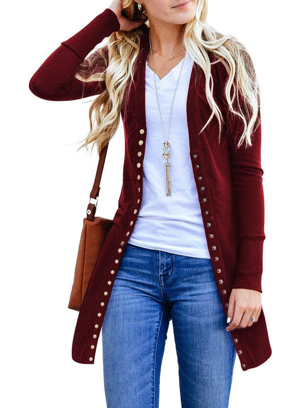 Basic Buttoned Knitted Cardigan