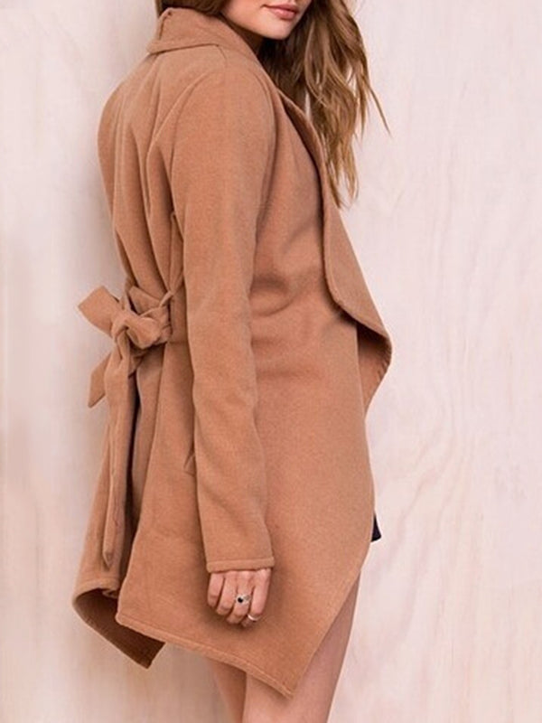 Chic Bow Bandage Lapel Collar Coat