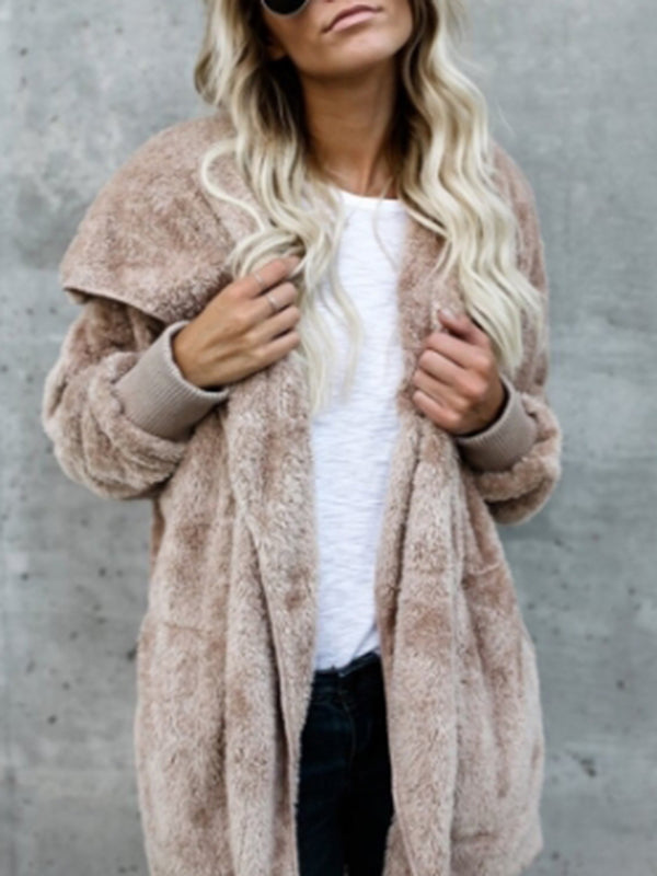 Fluffy Warm Zipper Hoodie Coat