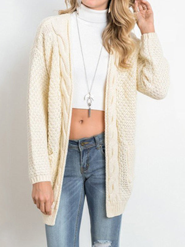 Solid Color Knitted Cardigan
