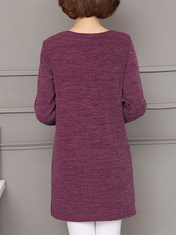 Plus Size Solid Crew Neck Basic Casual Dress