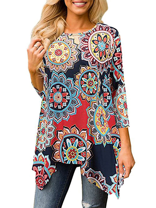 3/4 Sleeve Abstract Printed Casual Blouse