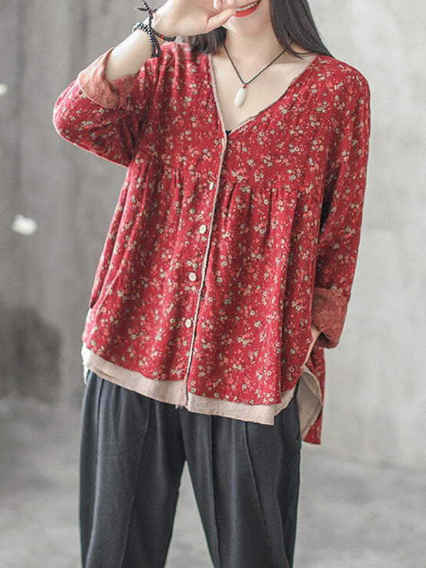 Two Layer Floral Printed Casual Blouse