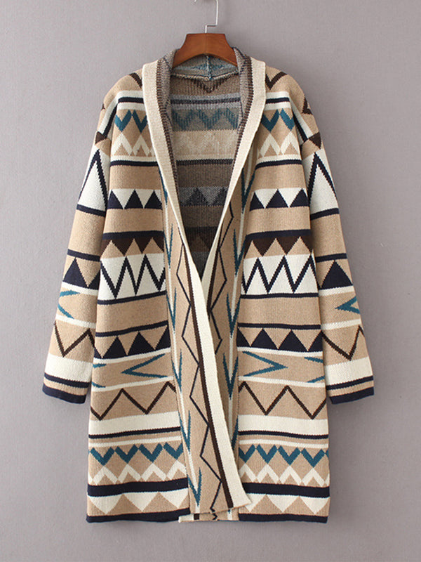Abstract Knitted Long Cardigan