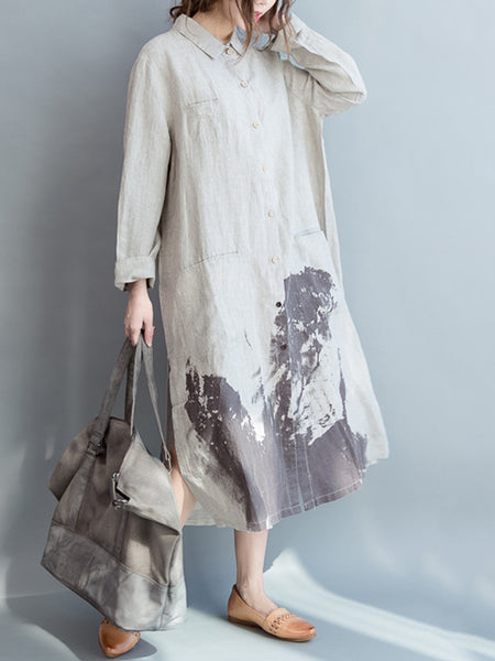 Abstract Printed Side Slit Long Pockets Dress