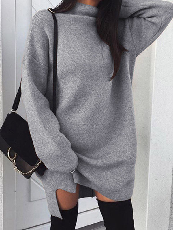 Turtleneck Long Sleeve Knitted Dress