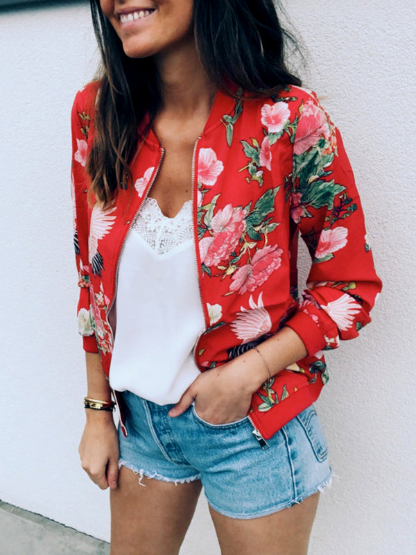 Chic Floral Printed Bomber Jacket