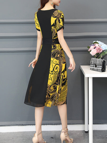 Abstract Paneled Short Sleeve Elegant Chiffon Midi Dress
