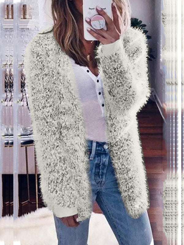 Plus Size Fluffy Solid Color Warm Coat