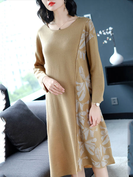 Abstract Paneled Long Sleeve Sweater Dress