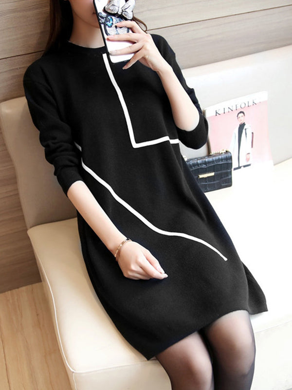 Geometric Knitted Basic Sweater Dress