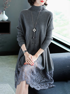 Elegant Lace Paneled Knitted Sweater Dress