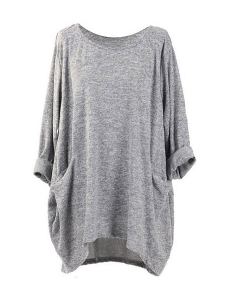 Batwing Sleeve High Low Hem Cozy Pockets Blouse
