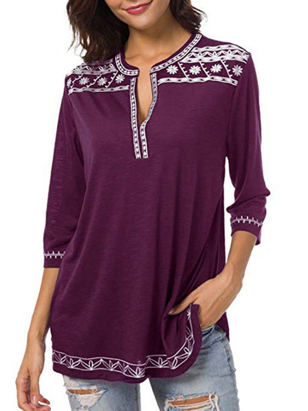 Tribal Printed V-neck Half Sleeve Blouses