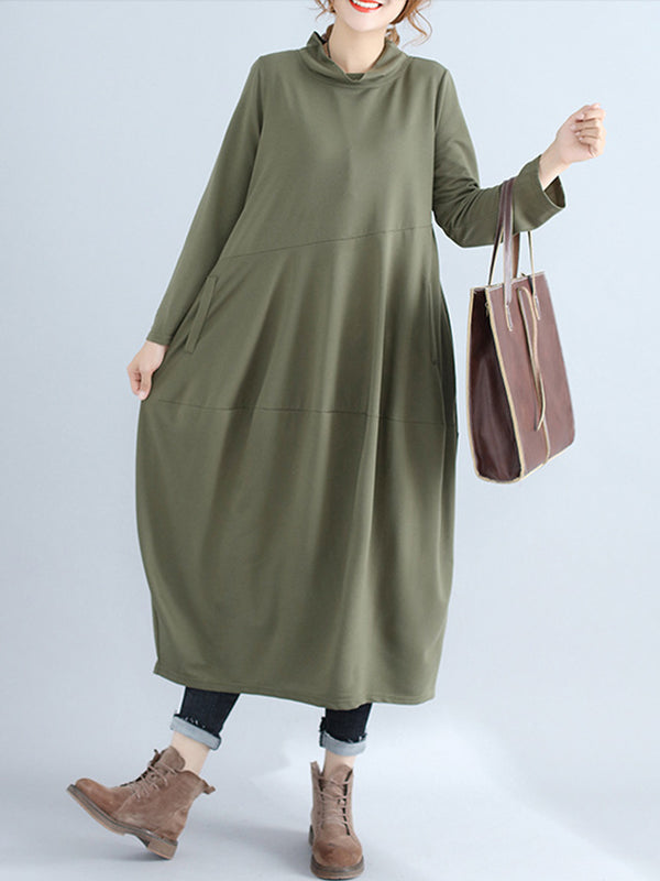 Solid Color Cowl Neck Paneled Maxi Dress