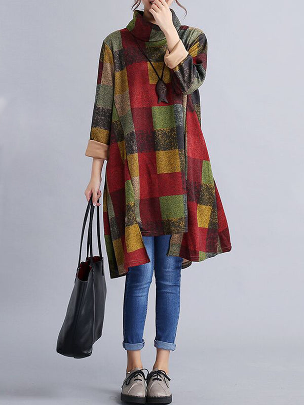 High Low Hem Plaid Printed Turtleneck Dress