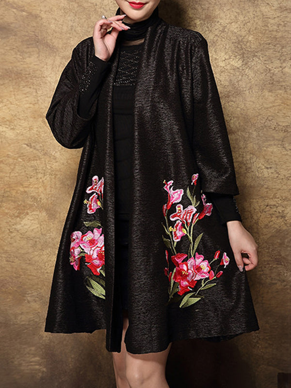 Floral Embroidered 3/4 Sleeve Elegant Coat