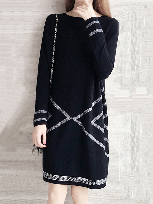 Geometric Printed Long Sleeve Knitted Dress