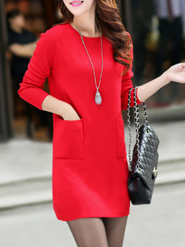 Crew Neck Pockets Casual Knitted Sweater Dress