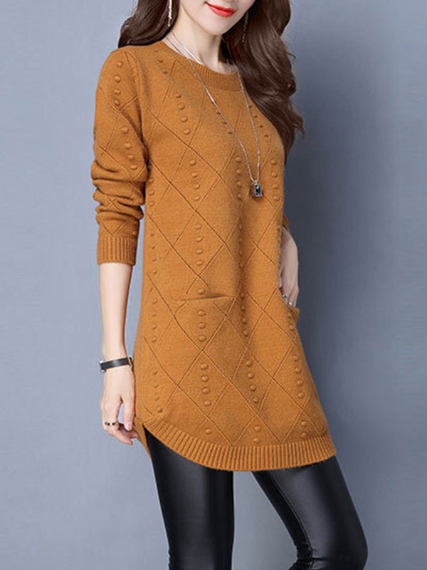Pockets Knitted Long Sleeve Sweater Dress