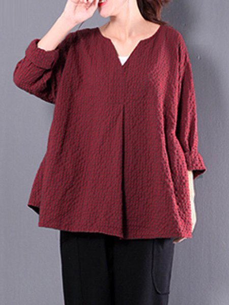 Plus Size Plaid Long Sleeve Blouse
