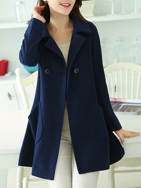 Plus Size Big Pockets Lapel Collar Warm Coat