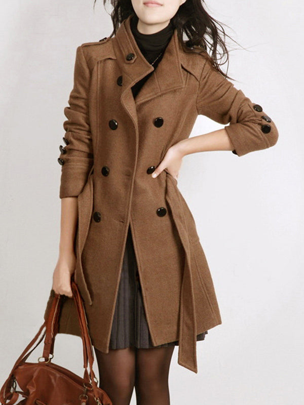 Stand Collar Buttoned Long Winter Coat
