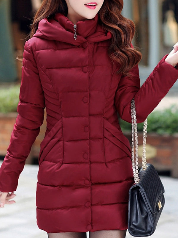 Stand Collar Long Hoodie Coat