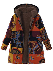 Fleece-lined Abstract Hoodie Winter Coat