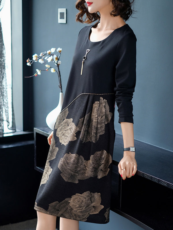 Floral Paneled Crew Neck Long Sleeve Knitted Midi Dress